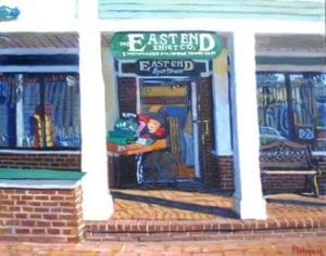 a painting of the east end shirt company