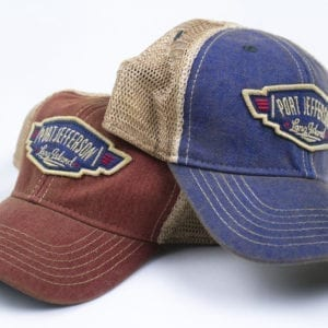 Brown and blue hats