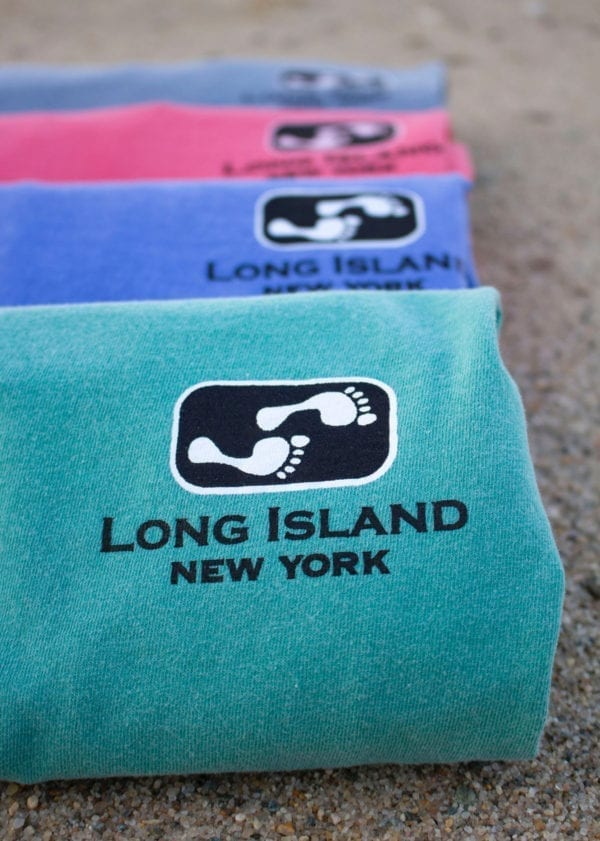 Colorful fabrics with Long Island text