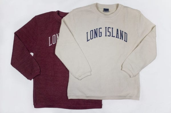 red and cream colored sweatshirts