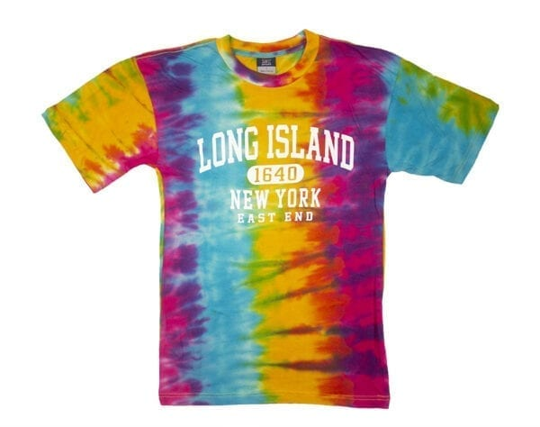 Tie-dyed shirt with Long Island text