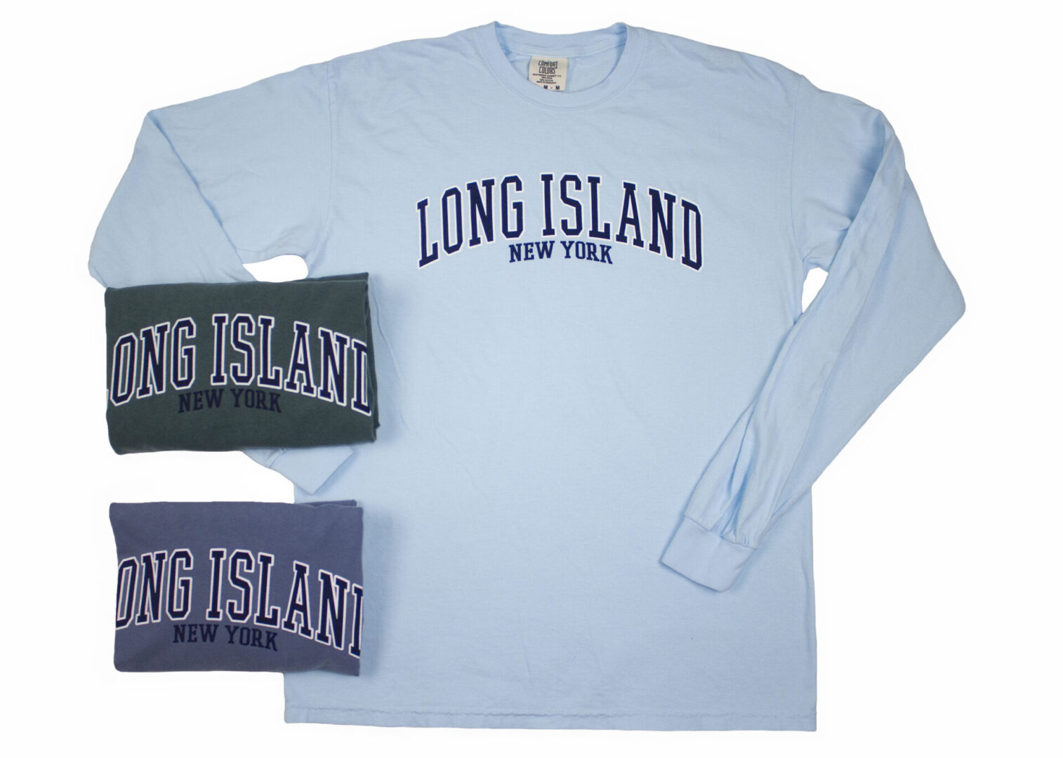 long sleeves in various shades of blue