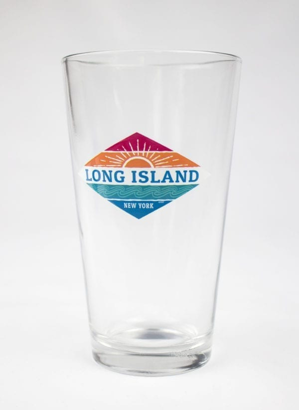 Glass with Long Island text