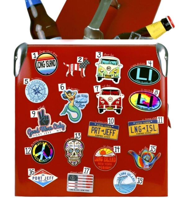 pins and stickers with New York theme
