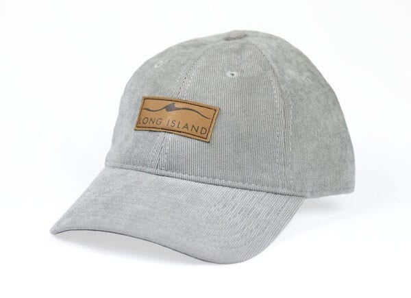 gray cap with brown accents