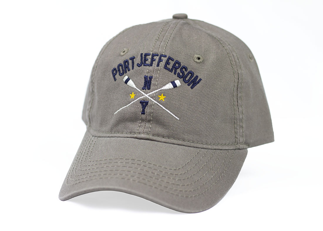 gray hat with stars and oars design