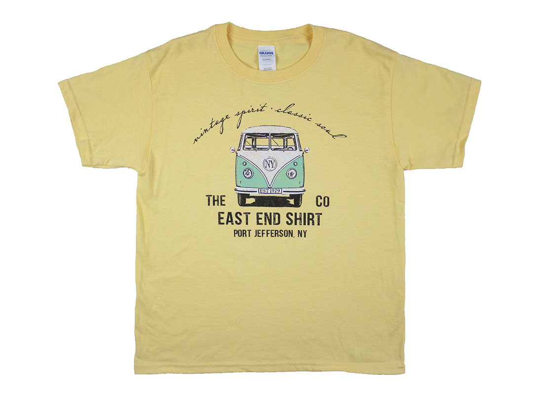 yellow T-shirt with bus print