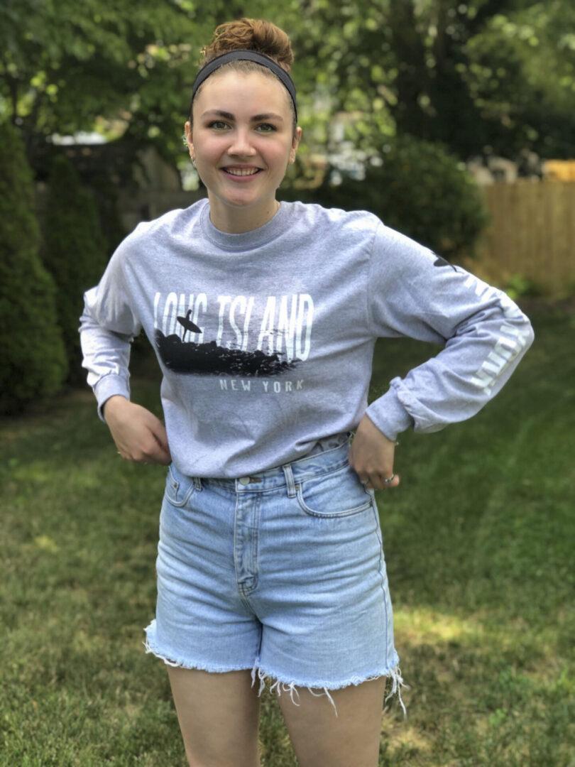 Girl wearing gray long sleeve