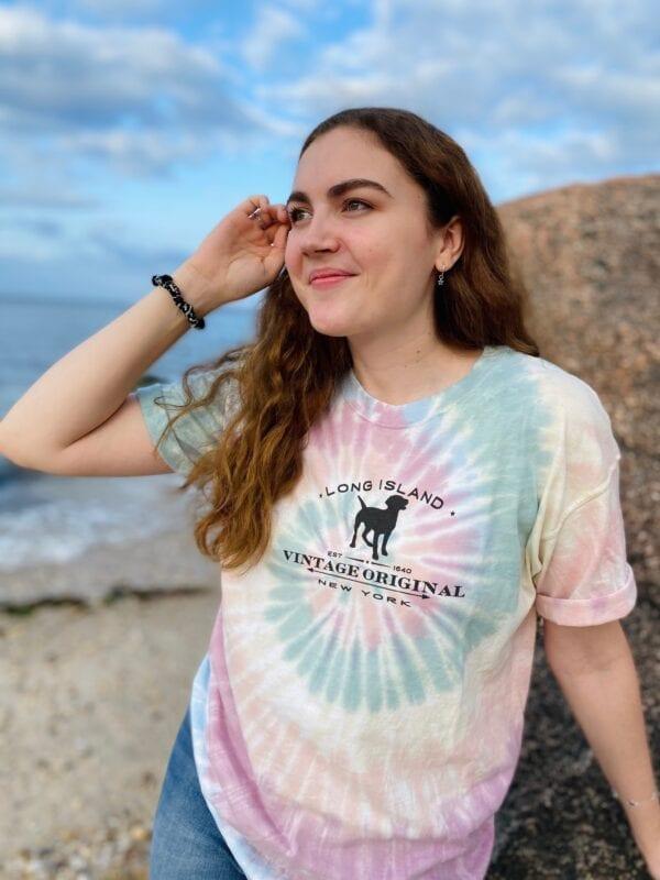 Girl wearing tie dyed shirt