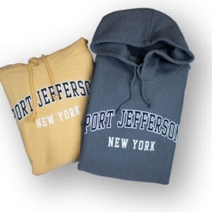 port jefferson heavyweight hoodies in steel grey and yellow