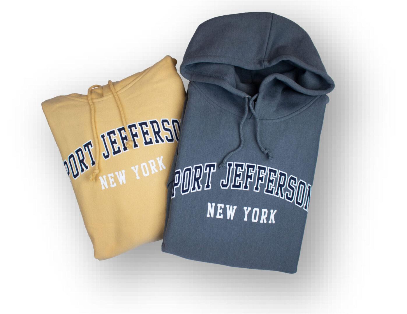 port jefferson heavyweight hoodies in steel grey and yellow