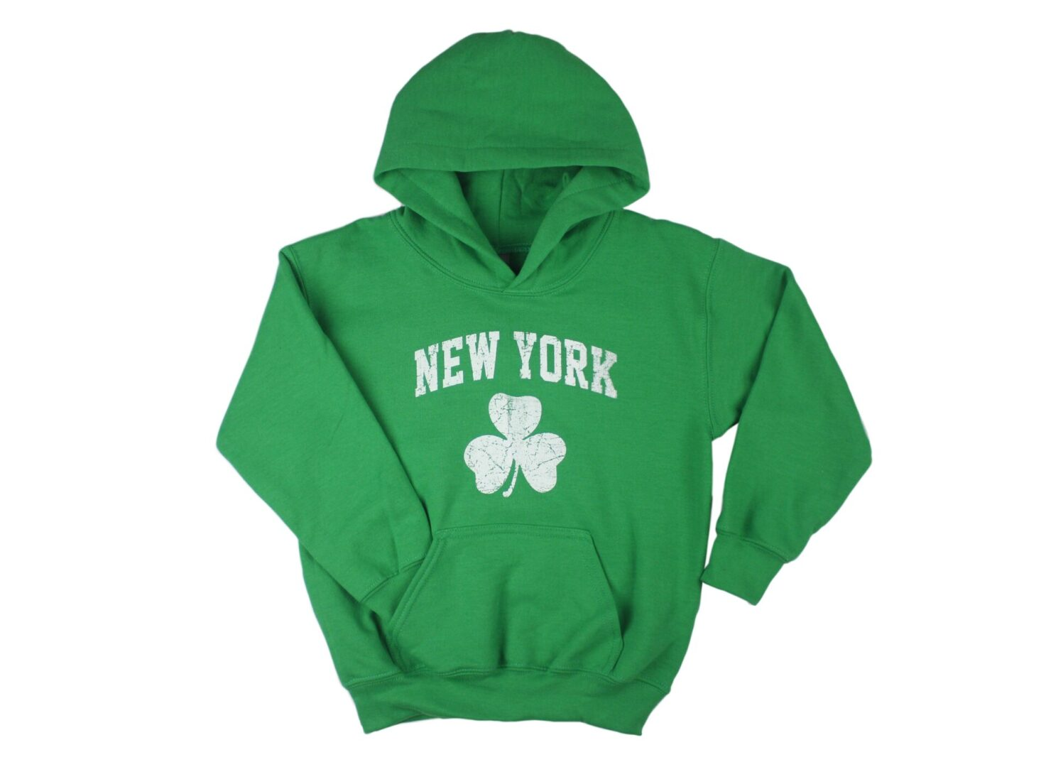 Green hoodie with clover leaf design
