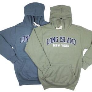 blue and dark gray sweatshirts