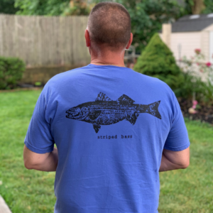 Blue T-shirt with bass fish print